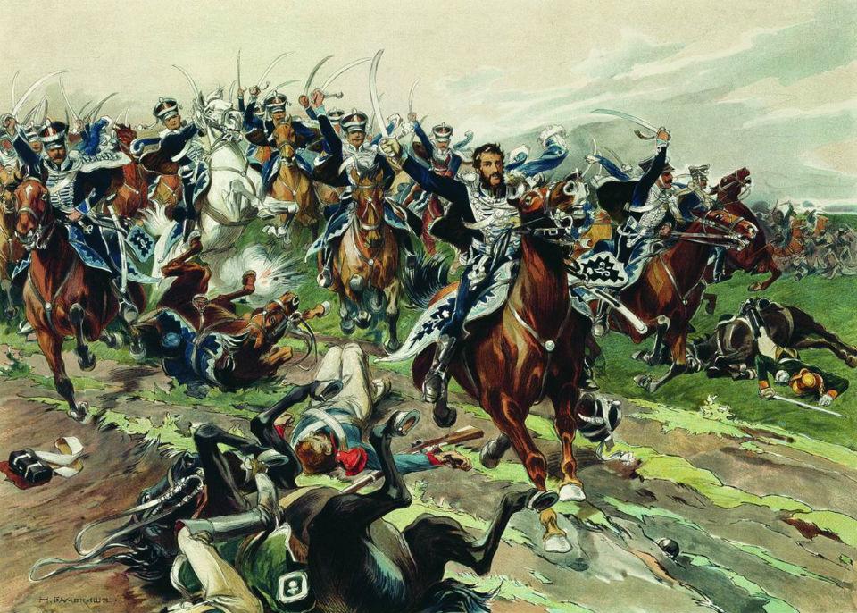 Николай Самокиш - Атака гусар Кульнева у Клястиц 20 июля 1812 года - 1900-е годы.jpg