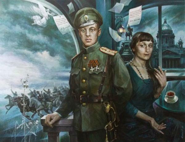 Александр Емельянов - Николай Гумилёв и Анна Ахматова.jpg