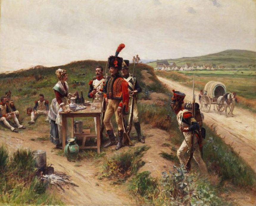 Adrien Moreau Soldaten bei einer jungen Markthаndlerin auf der Rast (Солдаты с молодой продавщицей на рынке Раста).jpg