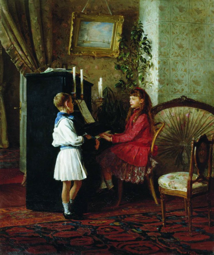 Кири́лл Вике́нтьевич Ле́мох (1841-1910) Дети за пианино.jpg