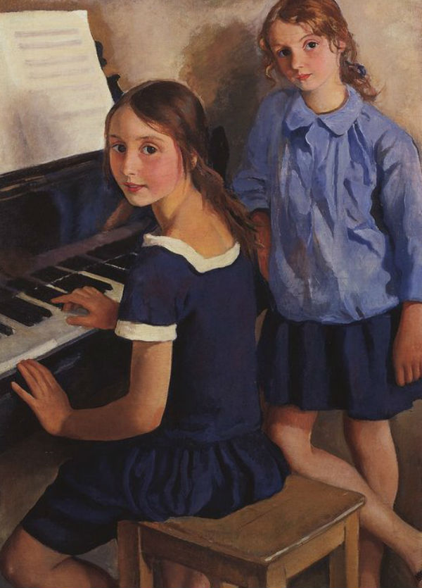 Зинаида Евгеньевна Серебрякова (1884-1967) Girls at the piano (Tata and Katya).jpg