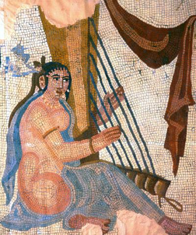 Арфа в мозаике империя Сасанидов III век нашей эры.jpg