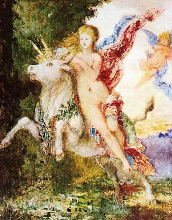 Гюстав Моро - Похищение Европы (около 1869)  акварель - Уодсворт Атенеум, Хартфорд.jpg