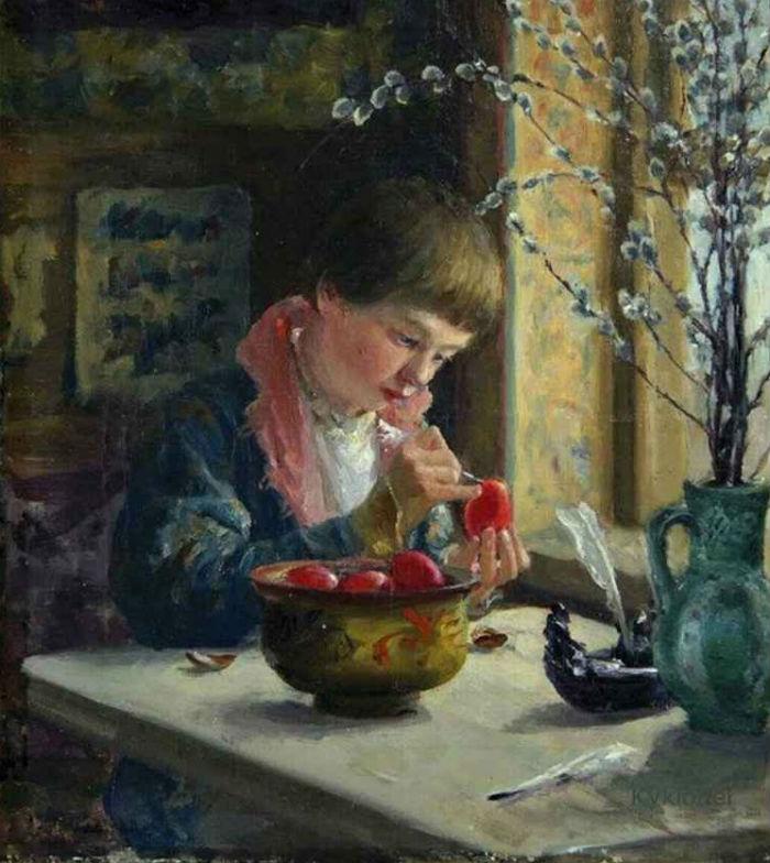 Милорадович Сергей дмитриевич - Приготовление к Пасхе (1910).jpg