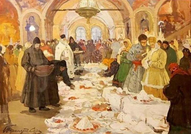 Горюшкин-Сорокапудор Иван Силыч - Обряд освящения куличей (1910).jpg