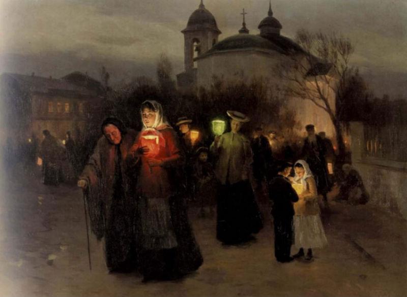 Пимоненко Николай Корнилович - Выход из церкви на страстной четверг (1904).jpg