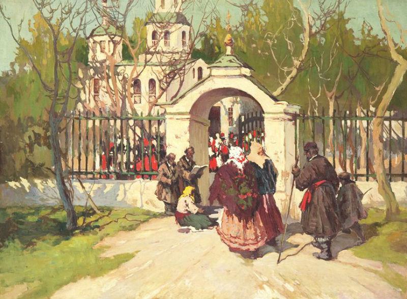 Колесников Степан Фёдорович (1879-1955) - Перед пасхальной службой.jpg