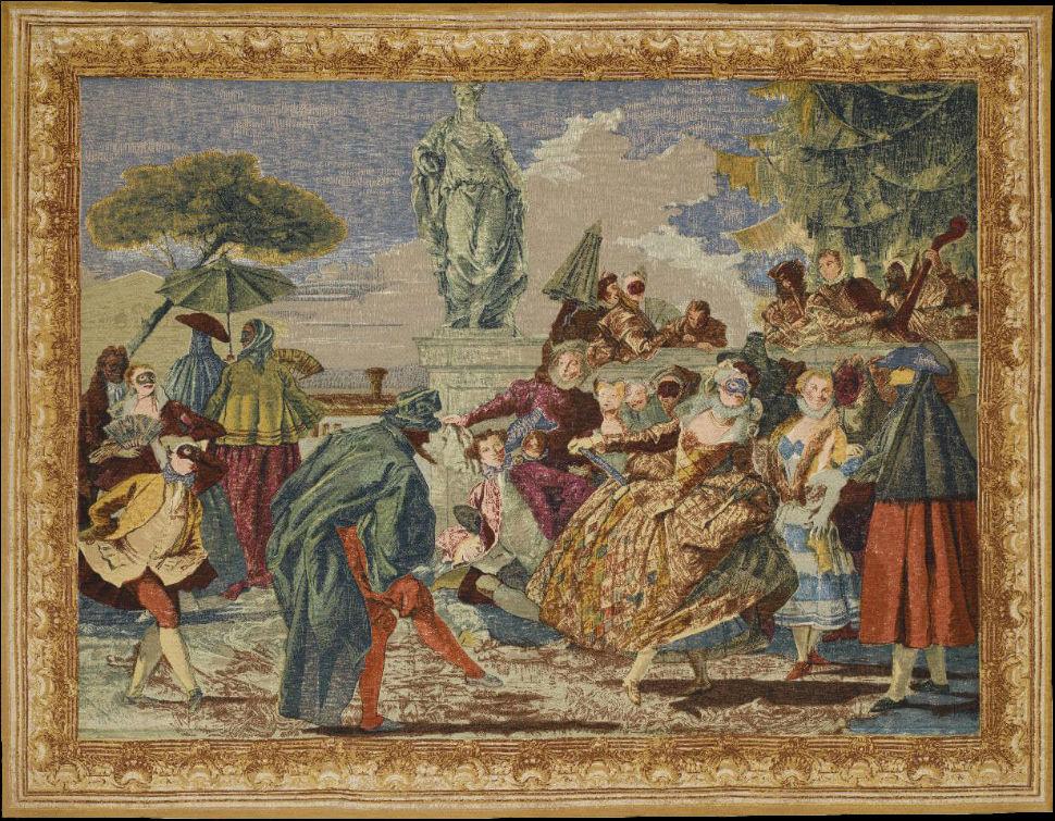 Гобелен Маскарад на мотив картины Тьеполо - Ателье Бове XVIIIвек - Франция-частная коллекция.jpg