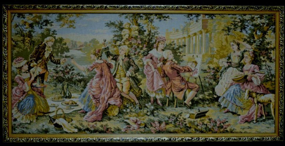 Гобелен Придворные забавы из серии Сады Людовика XIV - Франция XVIII век.jpg