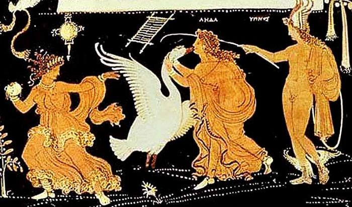 Краснофигурный сосуд - Апулея Южная Италия (Леда и лебедь).jpg