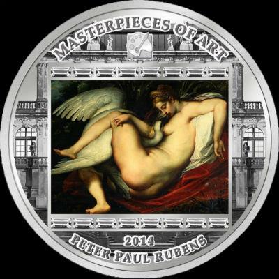 Острова Кука - монета 20$ - Рубенс - Леда и лебедь.jpg