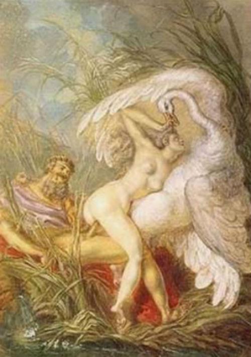 Charles-Antoine Coypel Leda and the Swan from the Histoire Universelle via georgeeliot.jpg