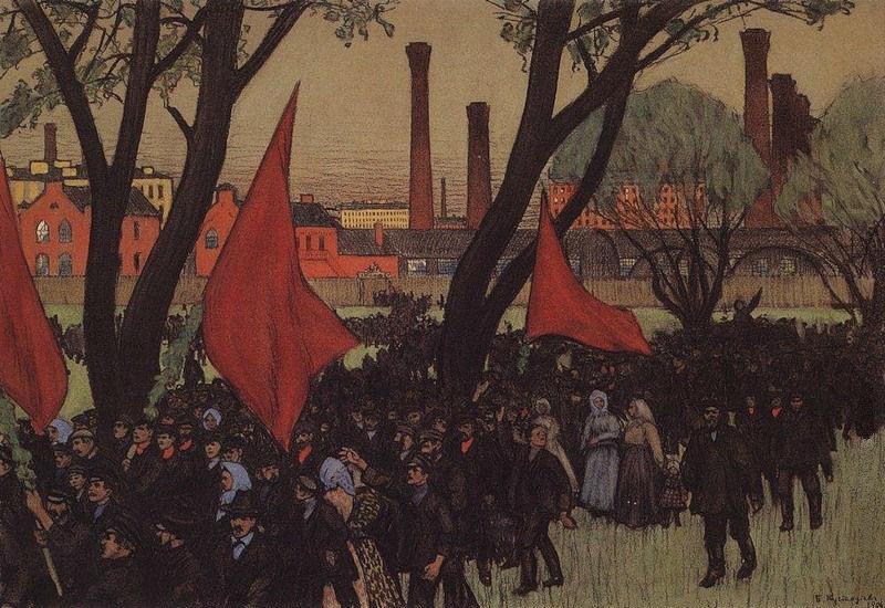 Кустодиев Борис Михайлович - Первомайская демонстрация у Путиловского завода - 1906.jpg