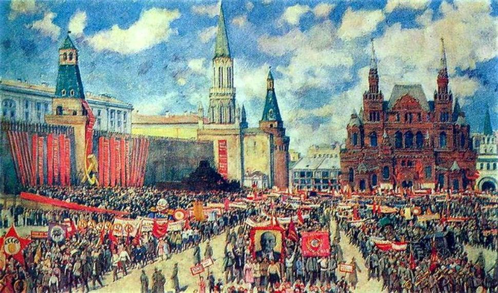 Юон Константин Фёдорович - Первомайская демонстрация на Красной площади в 1929 году.jpg