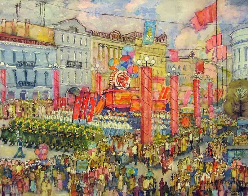 Захаров Сергей - Первомай на Невском проспекте - 1981.jpg