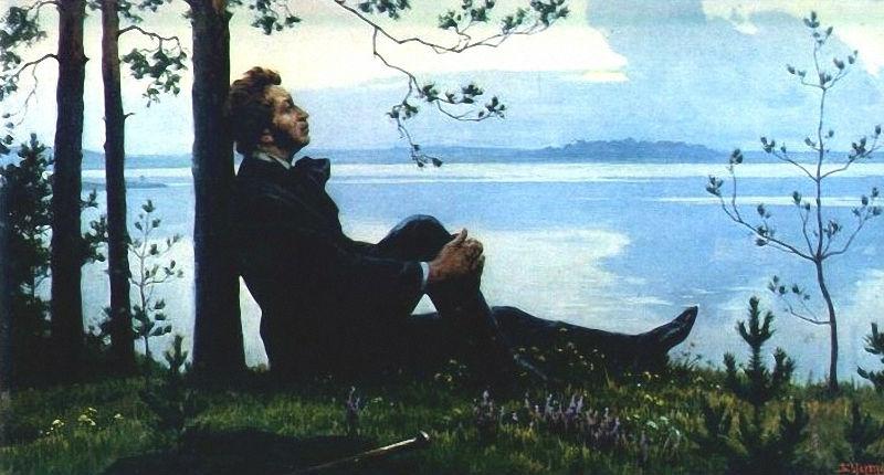 Борис Валентинович Щербаков - Пушкин над озером в вечерний час (1978).jpg