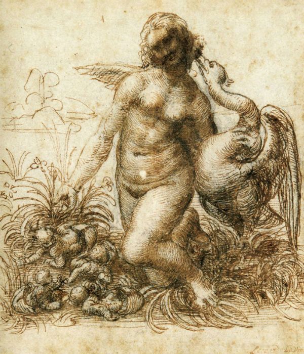 Леонардо да Винчи - Эскиз Леда и лебедь - 1503 - 1507 - Девонширская коллекция Чатсуорт.jpg
