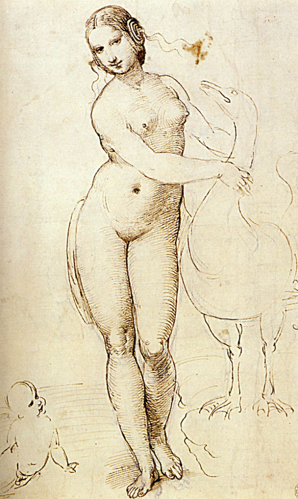 1507- Raphael Leda and the Swan Pen and dark brown ink Londres The Royal collection.jpg