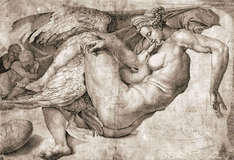 Микеланнджело - Леда ласкаемая лебедем с Кастором и Поллуксом - картон.jpg