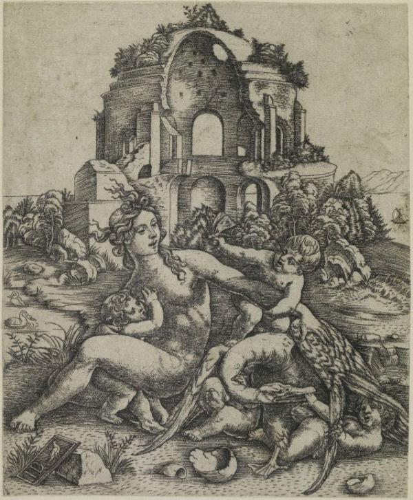 Print made by Giovanni Battista Palumba  - Leda family.jpg