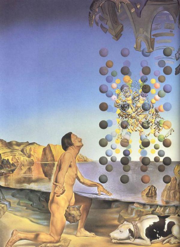 Нагой Дали созерцающий пять упорядоченных тел распадающихся на корпускулы из которых неожиданно сотворяется Леда Леонардо оплодотворенная лицом Гала.…