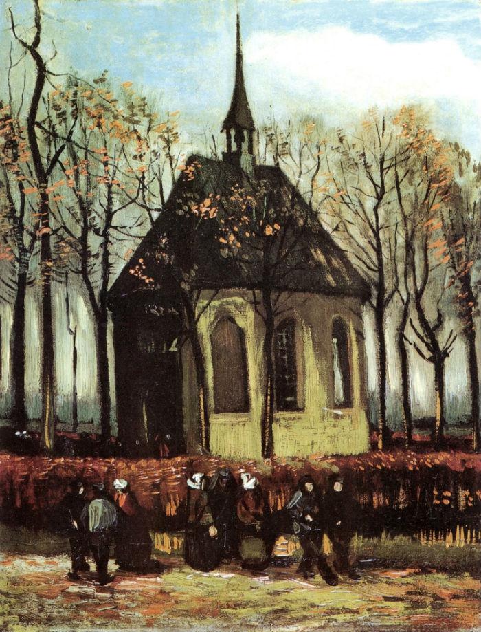 Винсент Ван Гог - Прихожане выходят из реформаторской церкви в Ньюнене -  1885.jpg