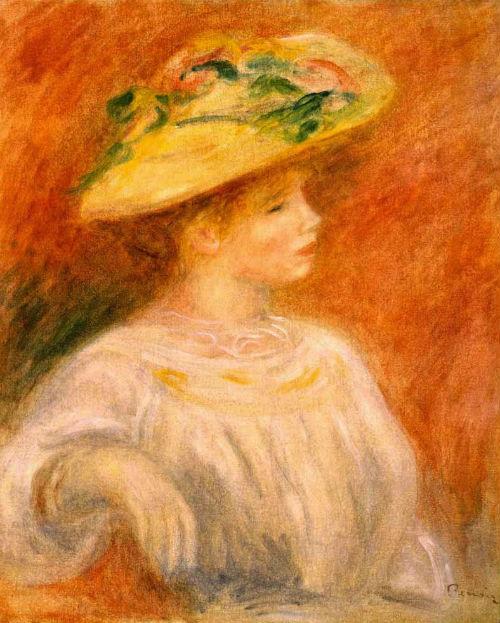 Огюст Ренуар - Девушка в шляпе с цветами.jpg