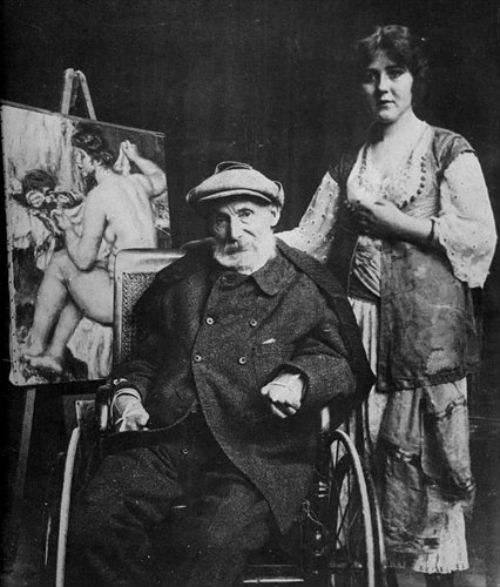Пьер Огюст Ренуар и Андре-Мадлен Хейслинг в мастерской художника в Ле Коллетт в Кань  1918.jpg