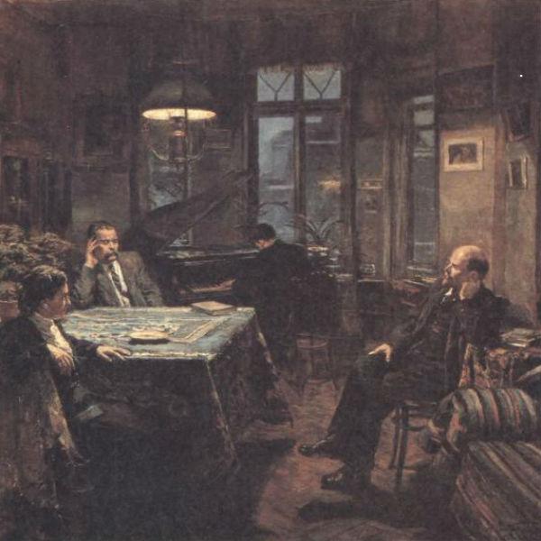В. И. Ленин у А. М. Горького в 1920 году - Аппассионата - картина Д. А. Налбандяна - 1956.jpg