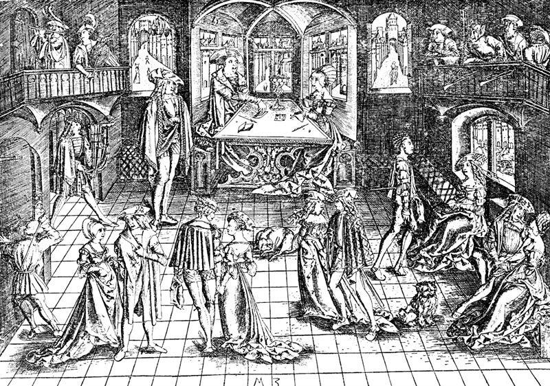 Мартин Зазингер (Martin Zasinger) - Танец в зале - XV век (графика).jpg