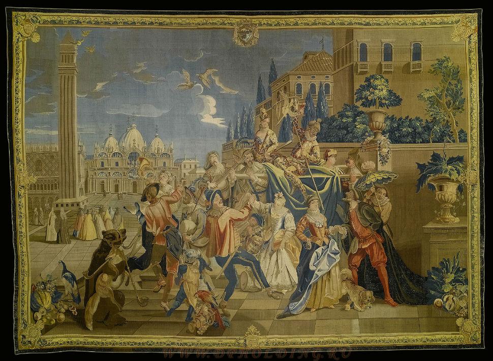 Шествие масок по площади Сан Марко - мануфактура Pirot в Вюрцбурге - середина XVIII века.jpg