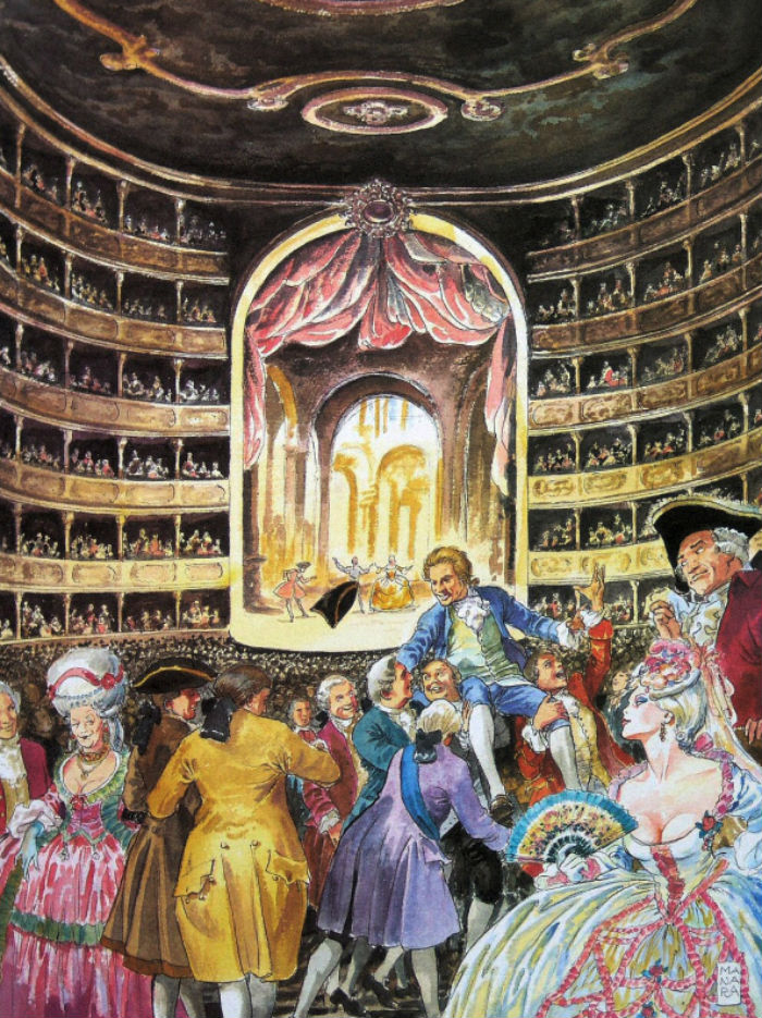 Мило Манара - Иллюстрация к книге Покайся! о Моцарте - 2005.jpg