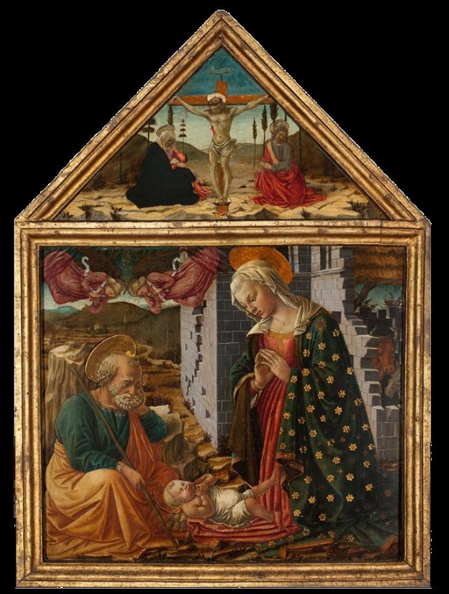 Фра Диаманте - Поклонение Младенцу и распятие - около 1470.PNG