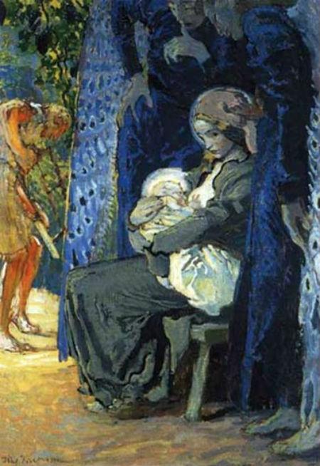 Юзеф Мехоффер - Святое семейство -  (Богоматерь кормящая) - коллекции Мазовецкого музея в Плоцке.jpg