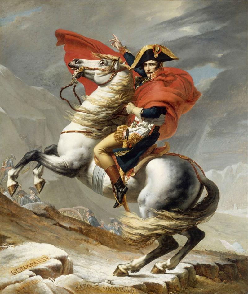 Жак Луи Давид - Первый консул переходящий Альпы у перевала Сен-Бернар.jpg