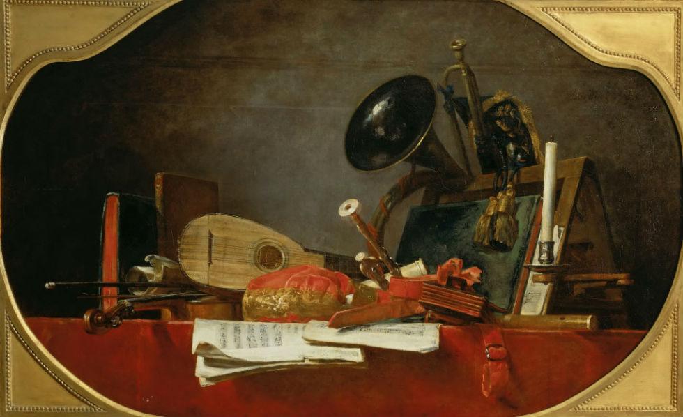 Жан-Батист Симеон Шарден - Натюрморт с атрибутами музыки.jpg