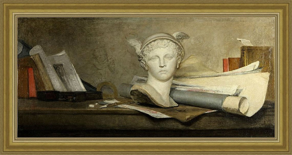 Жан-Батист Симеон Шарден - Натюрморт с произведениями искусства - 1.jpg
