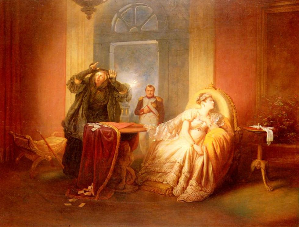 Йозеф Данхаузер - Наполеон и Жозефина с гадалкой на картах.jpg