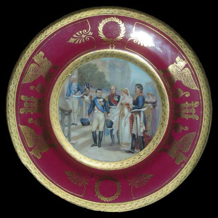 Тарелка декоративная Наполеон Александр I и прусская королева Луиза в Тильзите - Германия.jpg