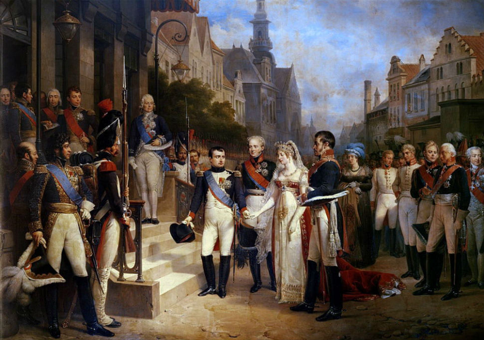 Nicolas Louis Francois Gosse – Napoleon Bonaparte (1769-1821) Receiving Queen Louisa of Prussia (1776-1810) at Tilsit 6th July.jpg