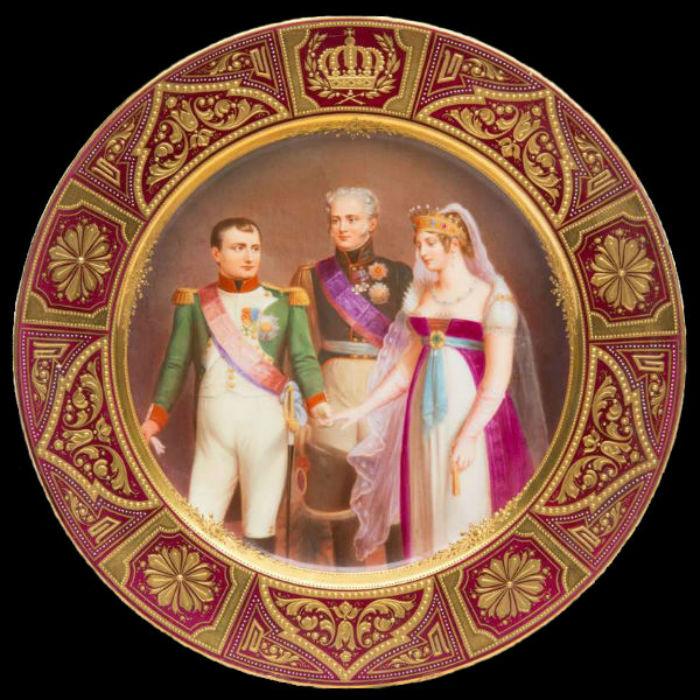 Неизвестная мануфактура - Тарелка Встреча Наполелона I Александра I и прусской королевы в Тильзите.jpg