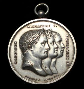 Медаль Тильзитский мир - Наполеон Александр Вильгельм - 1807.jpg