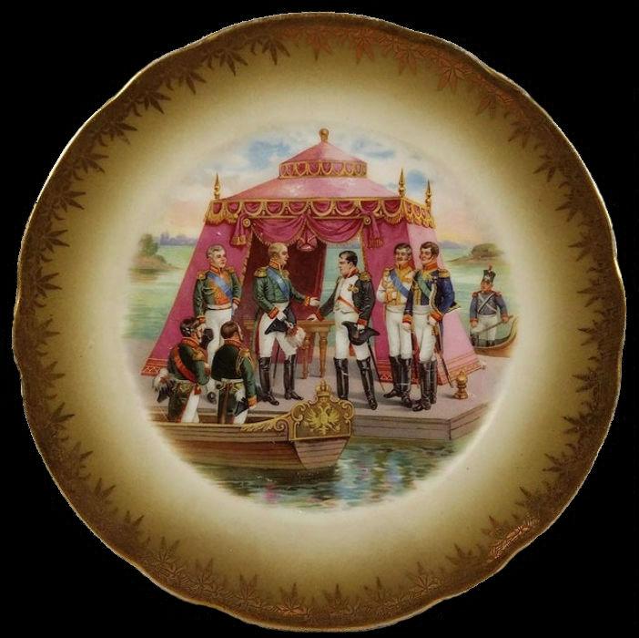 Свидание Александра I с Наполеоном в Тильзите - Фабрика Гарднера в Москве - конец XIX века.jpg