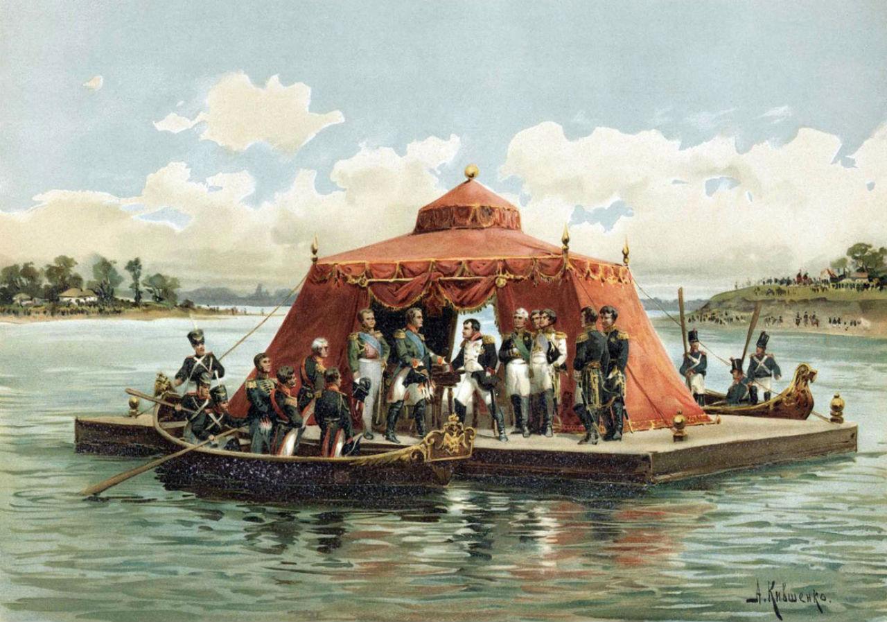 Кившенко Алексей Данилович  - Наполеон и император Александр I на свидании в Тильзите - 1893.jpg