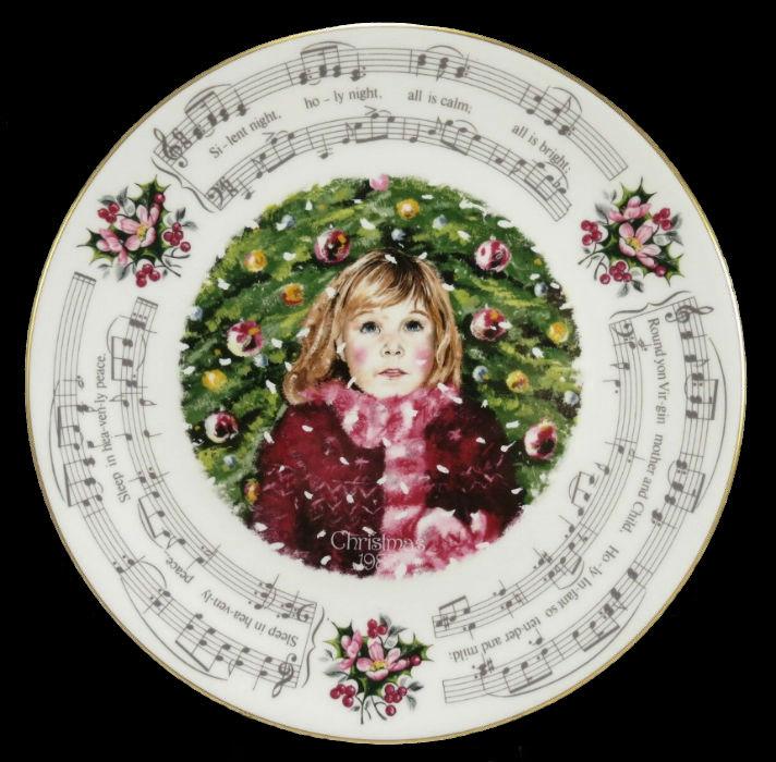 Декоративная тарелка с нотами  рождественской колядки Тихая ночь - Royal Doulton - 1983.jpg