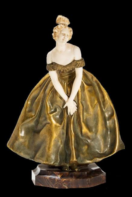 Рафаэлло Наннини - Фигура кокетки возможно вдохновленная образом Виолетты из оперы Верди «Травиата»  - 1889 - Фарфор бронза мрамор.jpg
