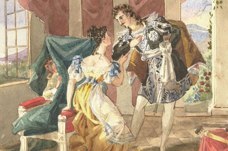 Граф Альмавива Сюзанна и Керубино за креслом - Сцена из 1-го акта оперы Вольфганга Амадея Моцарта «Свадьба Фигаро» - Акварель XIX века.jpg