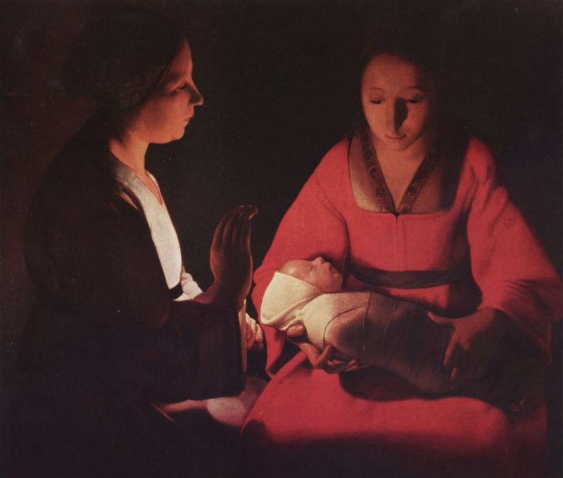 Жорж де Латур - Новорождённый (Рождество - Святая Анна Дева Мария младенец Христос) - 1648.jpg