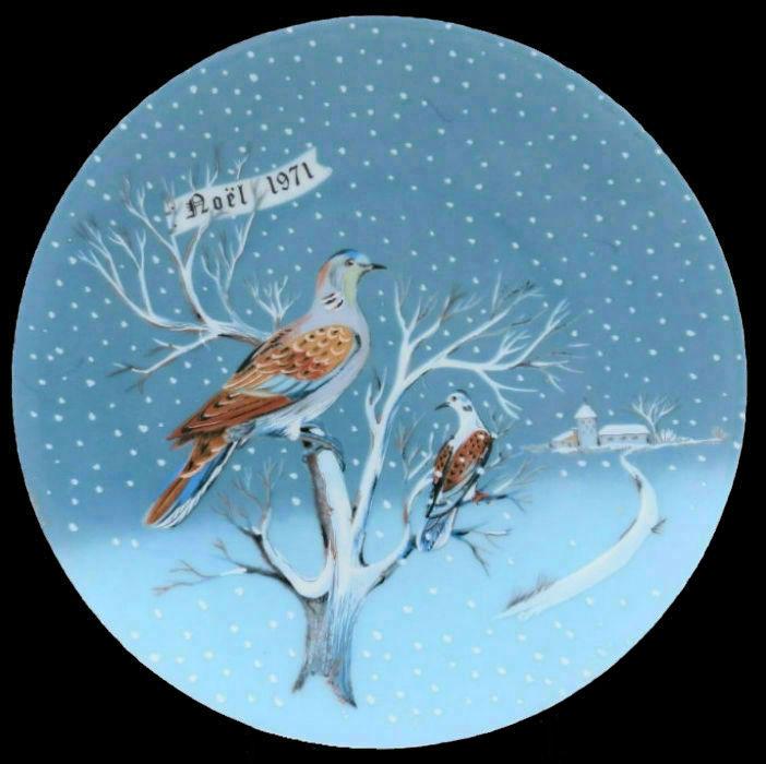2-Декоративная коллекционная тарелка - Двенадцать Дней Рождества - Две обыкновенных горлицы - Франция - Haviland Limoges - Р Хитроу - 1971.jpg