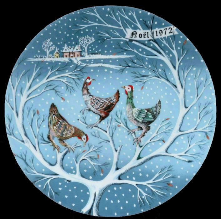 3-Декоративная коллекционная тарелка - Двенадцать Дней Рождества - Три французских курицы - Франция - Haviland Limoges - Р Хитроу.jpg